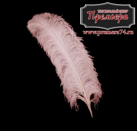 Перья декоративные (страус, 55см, розовый)